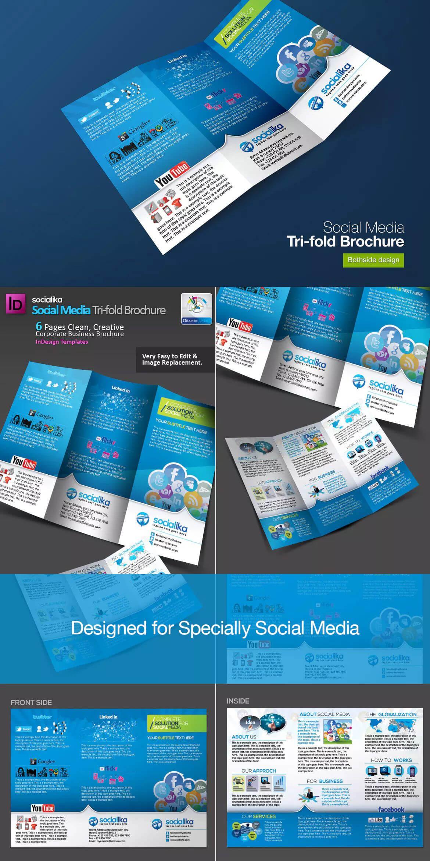 Social Media Tri Fold Brochure Template Indd | Brochure Within Social Media Brochure Template