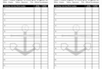 Softball Field Line Up in Dugout Lineup Card Template
