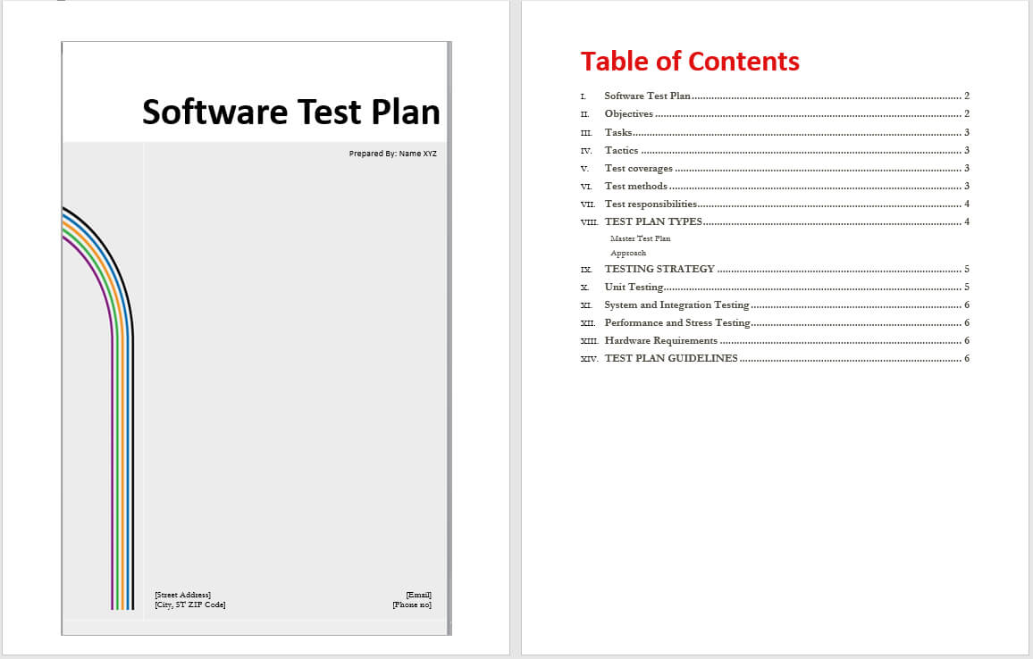 Software Test Plan Template – Word Templates Within Test Template For Word