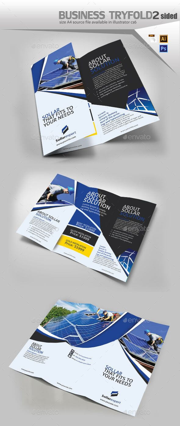 Solar Panel Trifold Double Sided – Brochures Print Templates Within One Sided Brochure Template