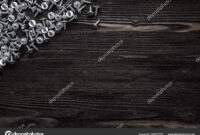 Some Wood Crews On Dark Wooden Desk Board Surface. Top View within Borderless Certificate Templates