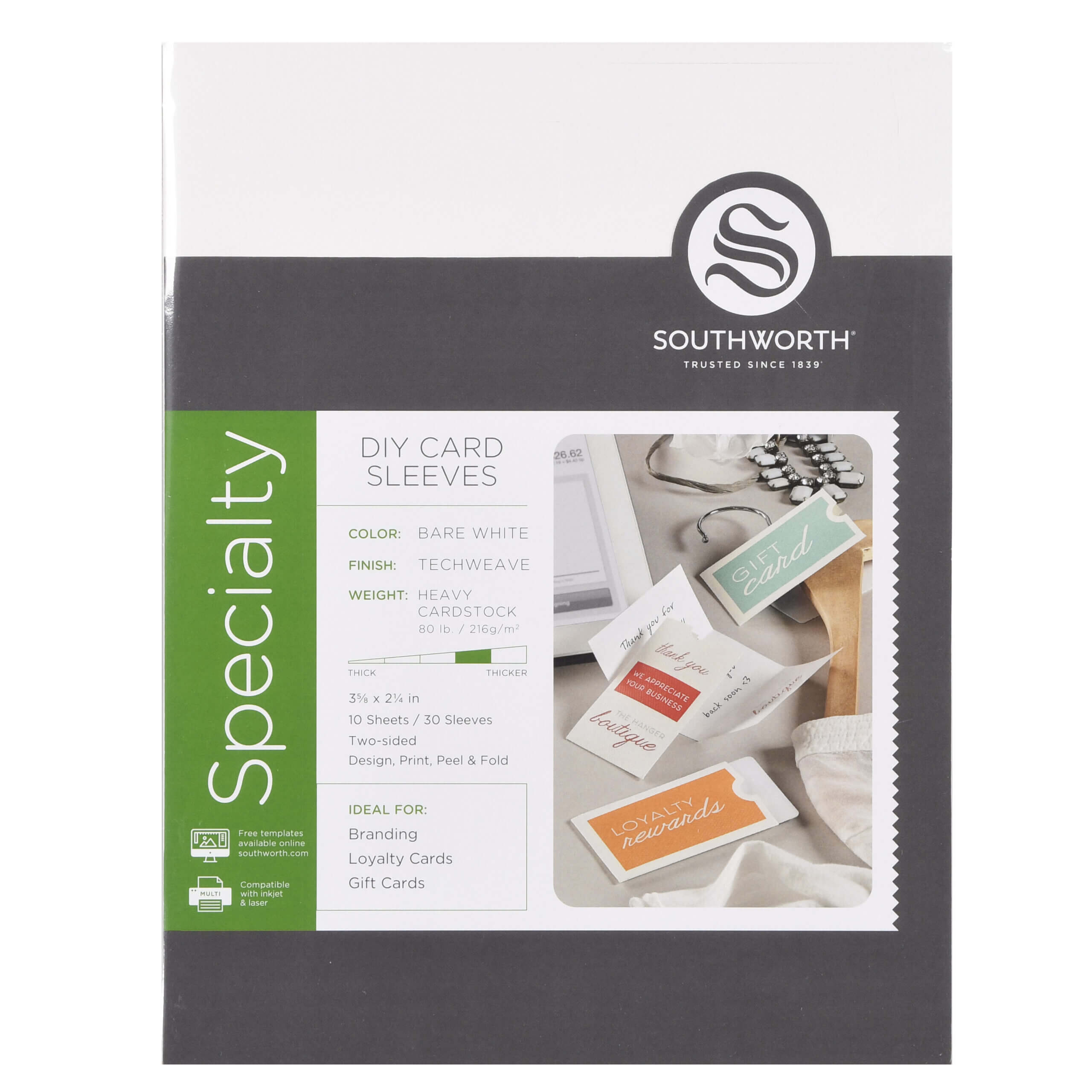 """Southworth Diy Card Sleeves, 3.6"""" X 2.25"""", 80 Lb., Techweave Finish, Bare  White, 30 Ct. – Walmart With Southworth Business Card Template"""