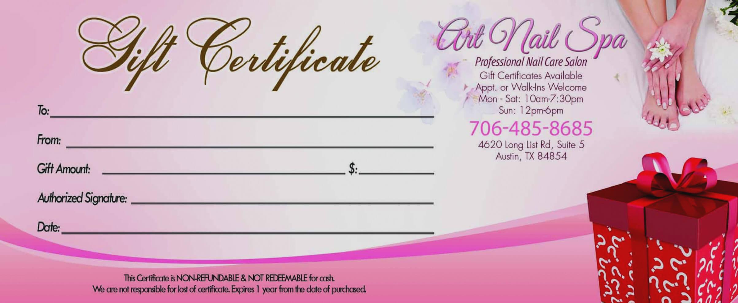 Spa Gift Certi Certificate Sample Templates Free Copy Nail Inside Nail Gift Certificate Template Free