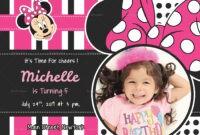 Sparkling Minnie Mouse Birthday Invitation Card Template for Minnie Mouse Card Templates