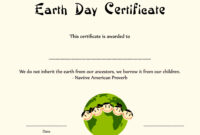 Special Certificates – Kids Earth Day Certificate Template inside Player Of The Day Certificate Template