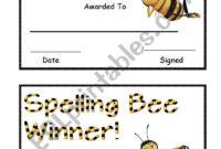 Spelling Bee Award – Esl Worksheetsara5 with Spelling Bee Award Certificate Template
