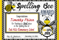 Spelling Bee Awards ~ Fillable | Spelling Bee, Certificate with regard to Spelling Bee Award Certificate Template