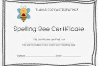 Spelling Bee Certificates | Bee Certificate, Spelling Bee for Spelling Bee Award Certificate Template