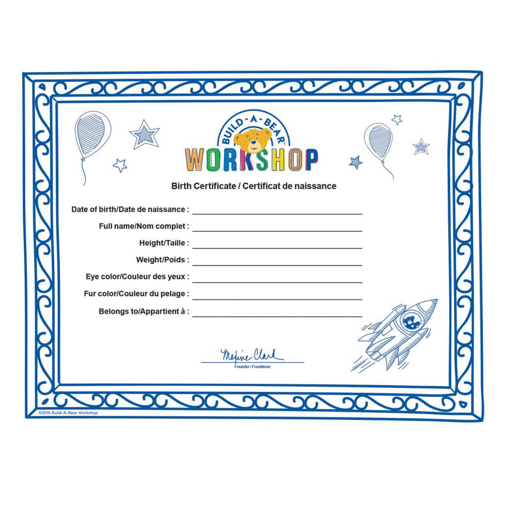 Spin Master - Build A Bear Build A Bear Workshop® Furry With Build A Bear Birth Certificate Template
