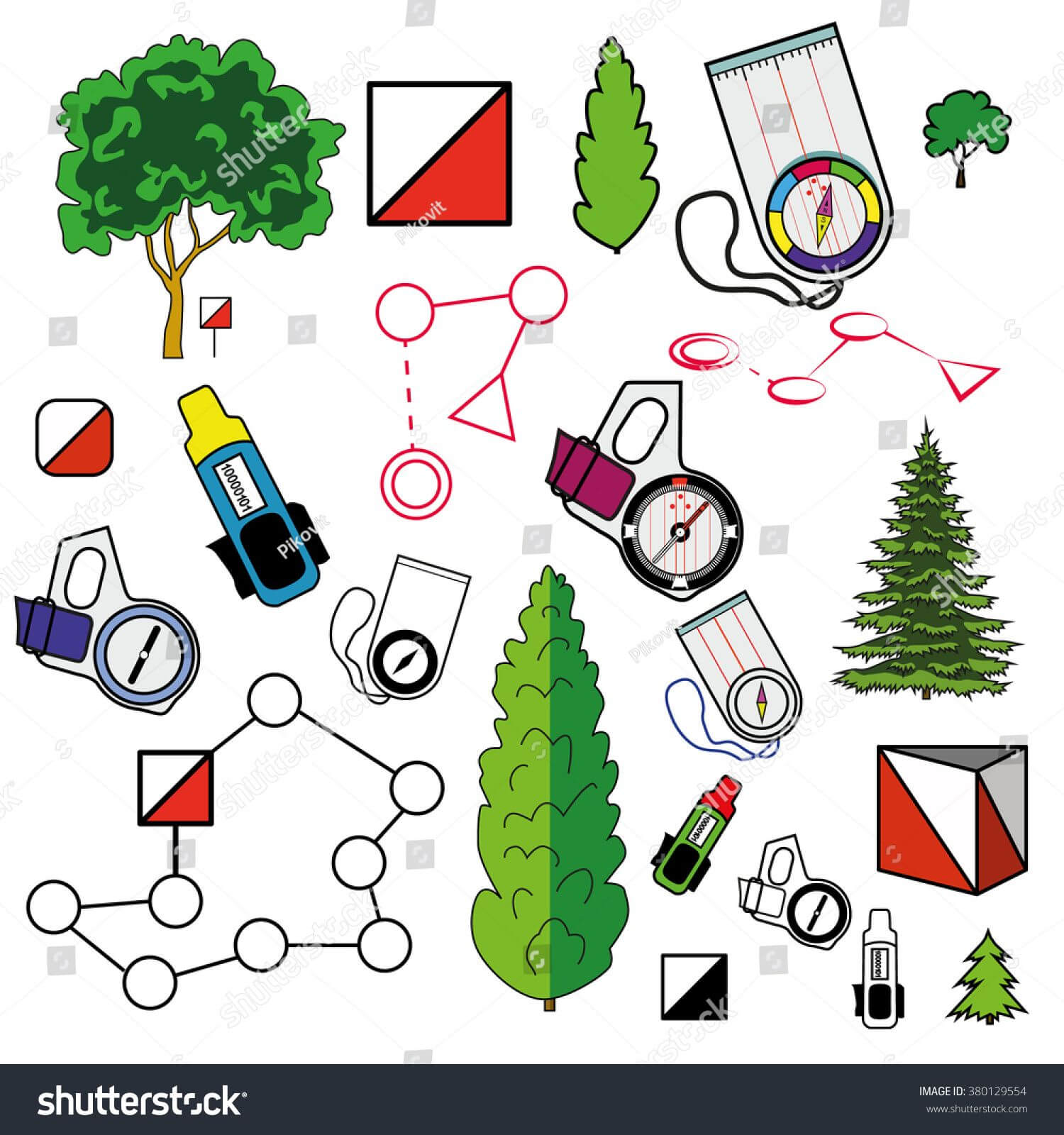 Sports Orienteering Icons Set Of Elements: Control Points With Orienteering Control Card Template