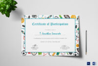 Sports Participation Certificate Template throughout Athletic Certificate Template