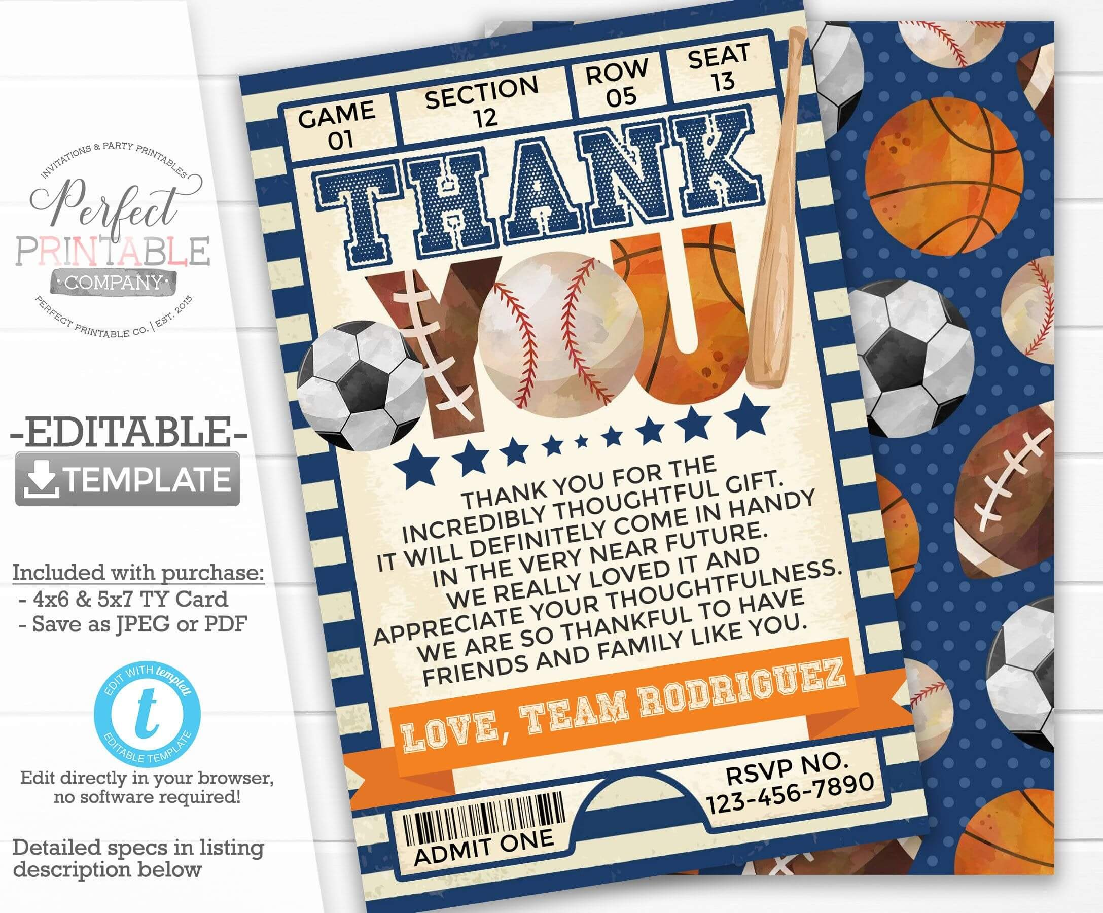 Sports Thank You Card, Sports Thank You Note, Birthday Party With Soccer Thank You Card Template