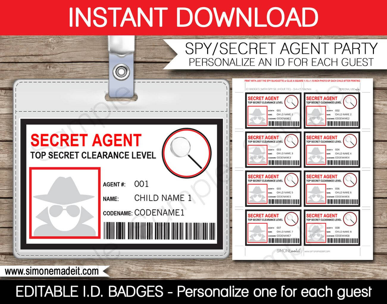 Spy Birthday Party Badge - Secret Agent Badge - Printable Id In Spy Id Card Template