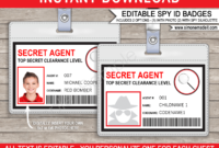 Spy Or Secret Agent Badge Template – Red with Spy Id Card Template