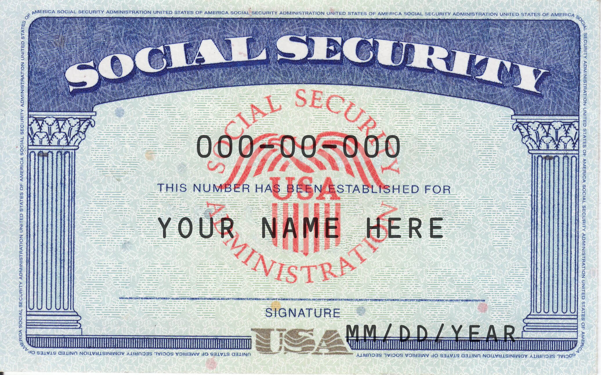 Ssn Editable Social Security Card Social Security Card Intended For Editable Social Security Card Template