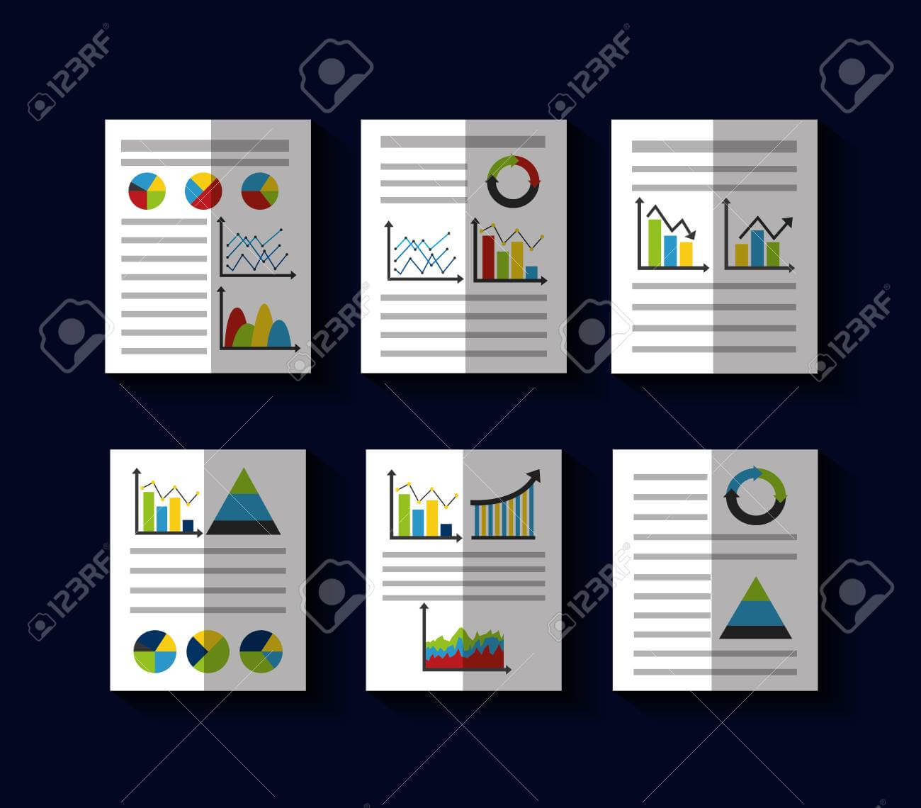 Statistics Data Business Report Template Style Charts And Graphs.. In Illustrator Report Templates