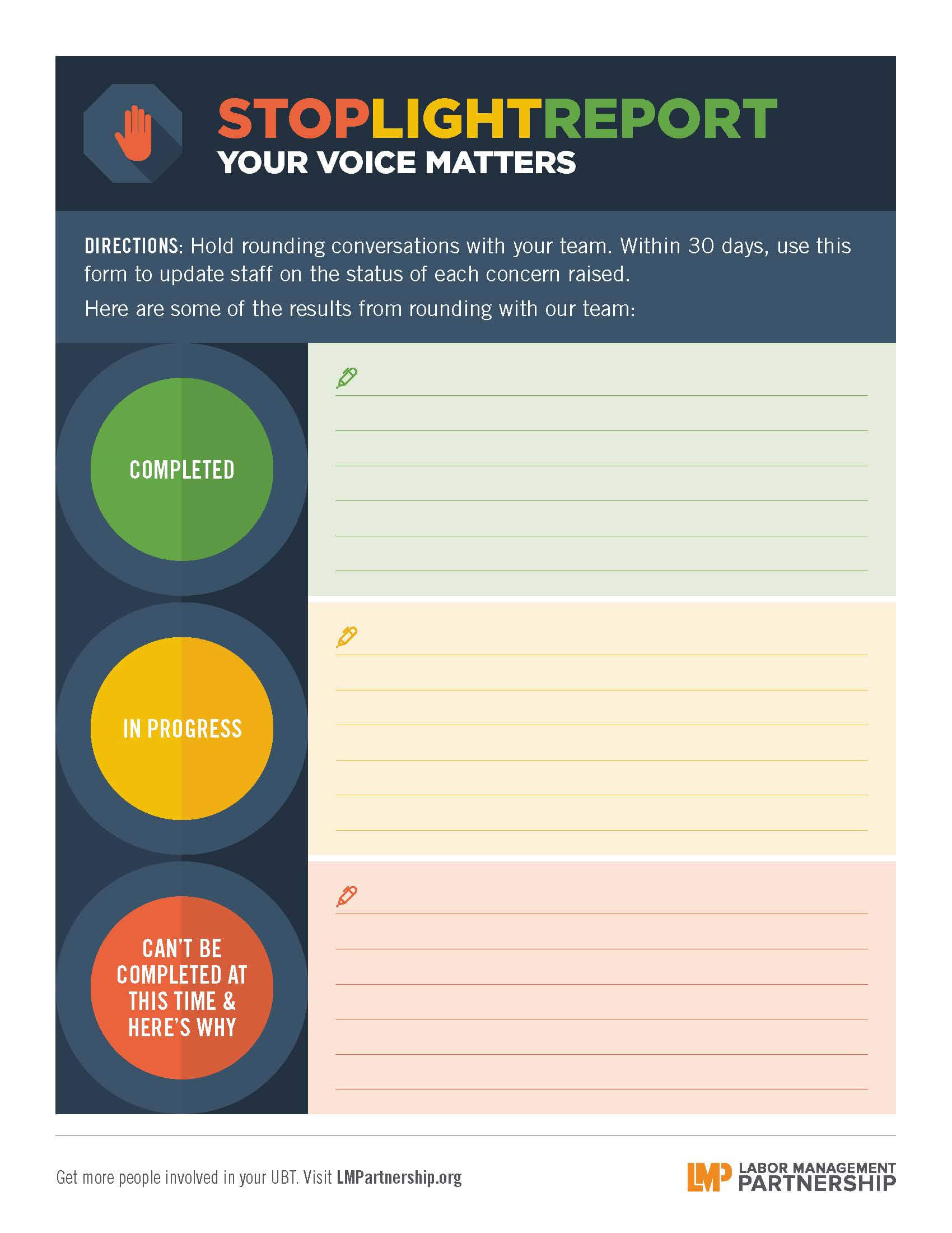 Stoplight Report: Your Voice Matters | Labor Management Within Stoplight Report Template