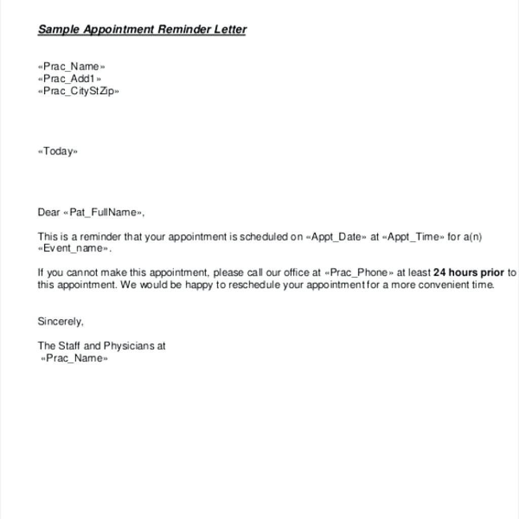 Striking Appointment Reminder Email Template Ideas Free Regarding Dentist Appointment Card Template