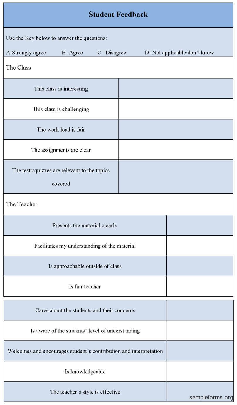 Student Feedback Form | Feedback For Students, Student Inside Student Feedback Form Template Word