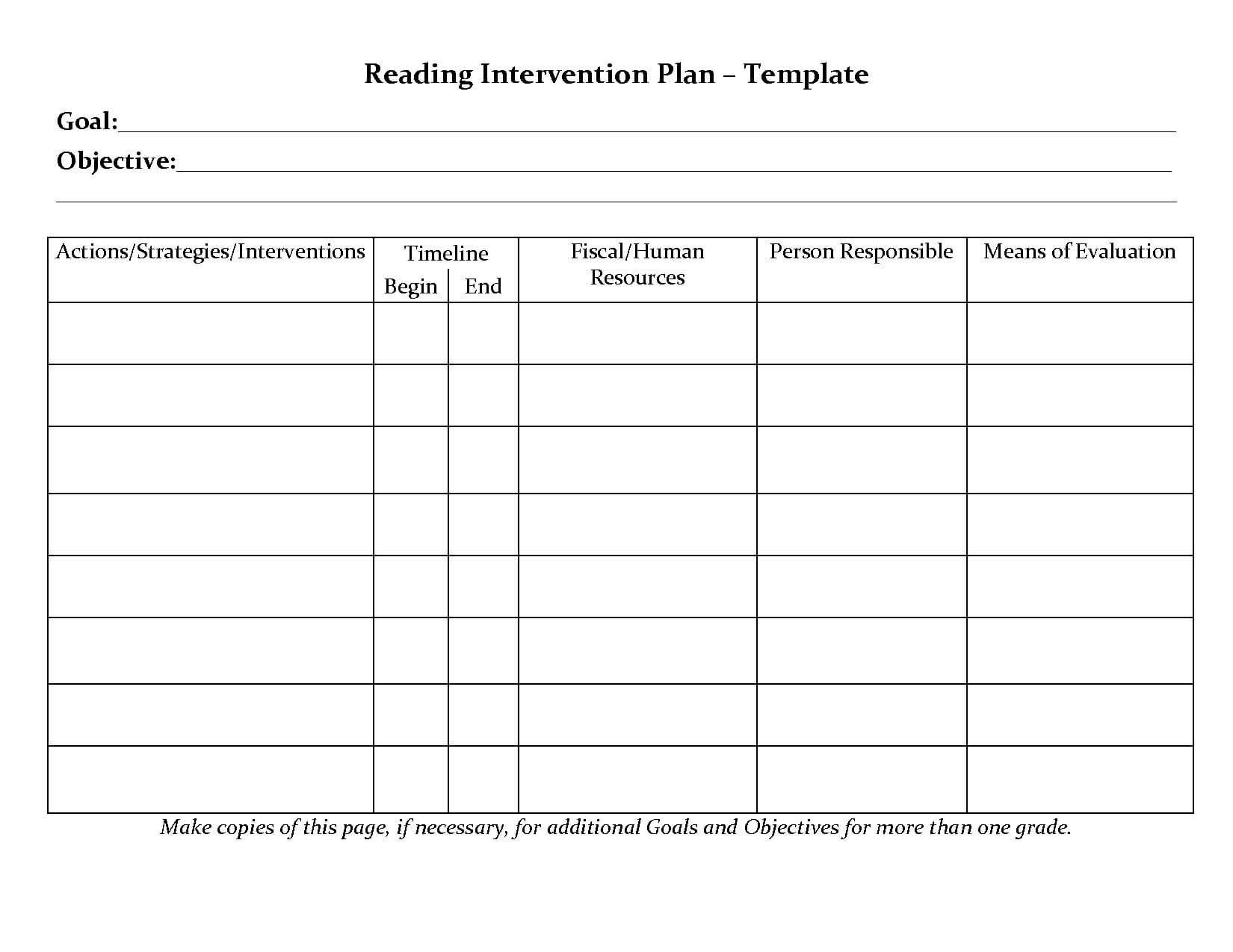 Student Planner Templates | Reading Intervention Plan Intended For Intervention Report Template