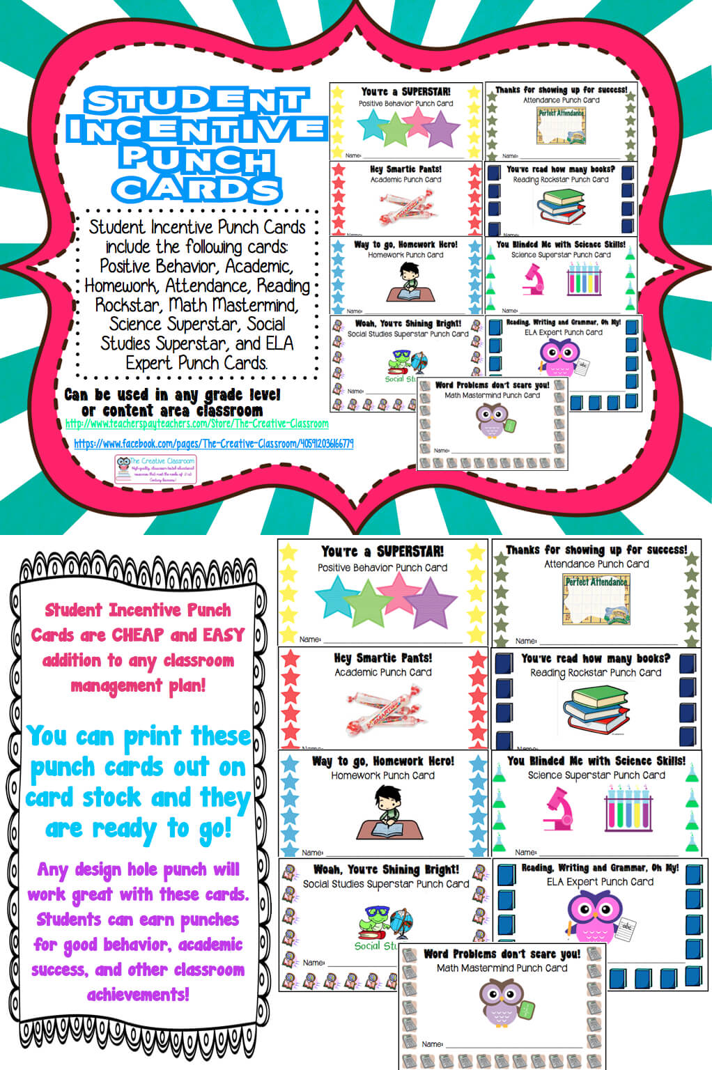 Student Rewards Punch Cards | Student Incentives, Student With Reward Punch Card Template