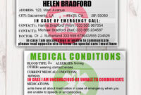 Stunning Emergency Contact Card Template Ideas Wallets Free within In Case Of Emergency Card Template