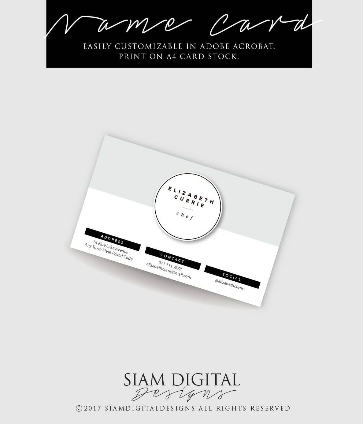 Stylish Business Card Template | Edit With Adobe Acrobat Intended For Adobe Illustrator Business Card Template