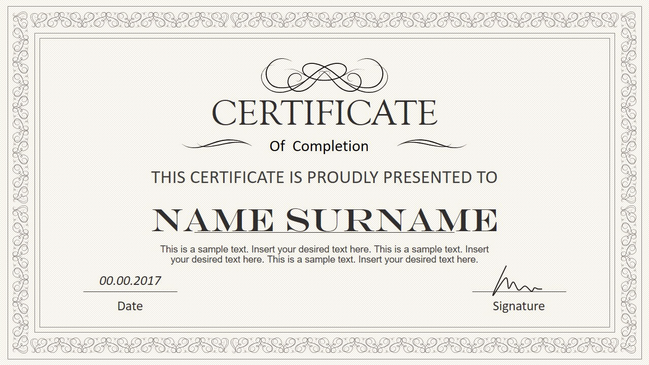 Stylish Certificate Powerpoint Templates With Powerpoint Award Certificate Template