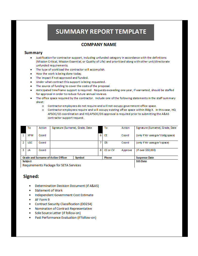 Summary Report Template With Template For Summary Report