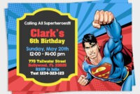 Superman Invitation, Superman Party, Superman Birthday with Superman Birthday Card Template