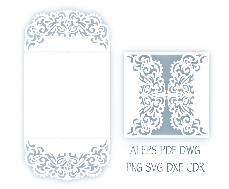 Svg Wedding Invitation 5X5'' Gate Fold Card Template | Faire In Silhouette Cameo Card Templates