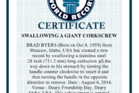 "Swallowing A Giant Corkscrew"" Bharat World Record intended for Guinness World Record Certificate Template"
