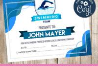 Swimming – Certificate – Printable – 3Grafik | Certificate regarding Swimming Certificate Templates Free