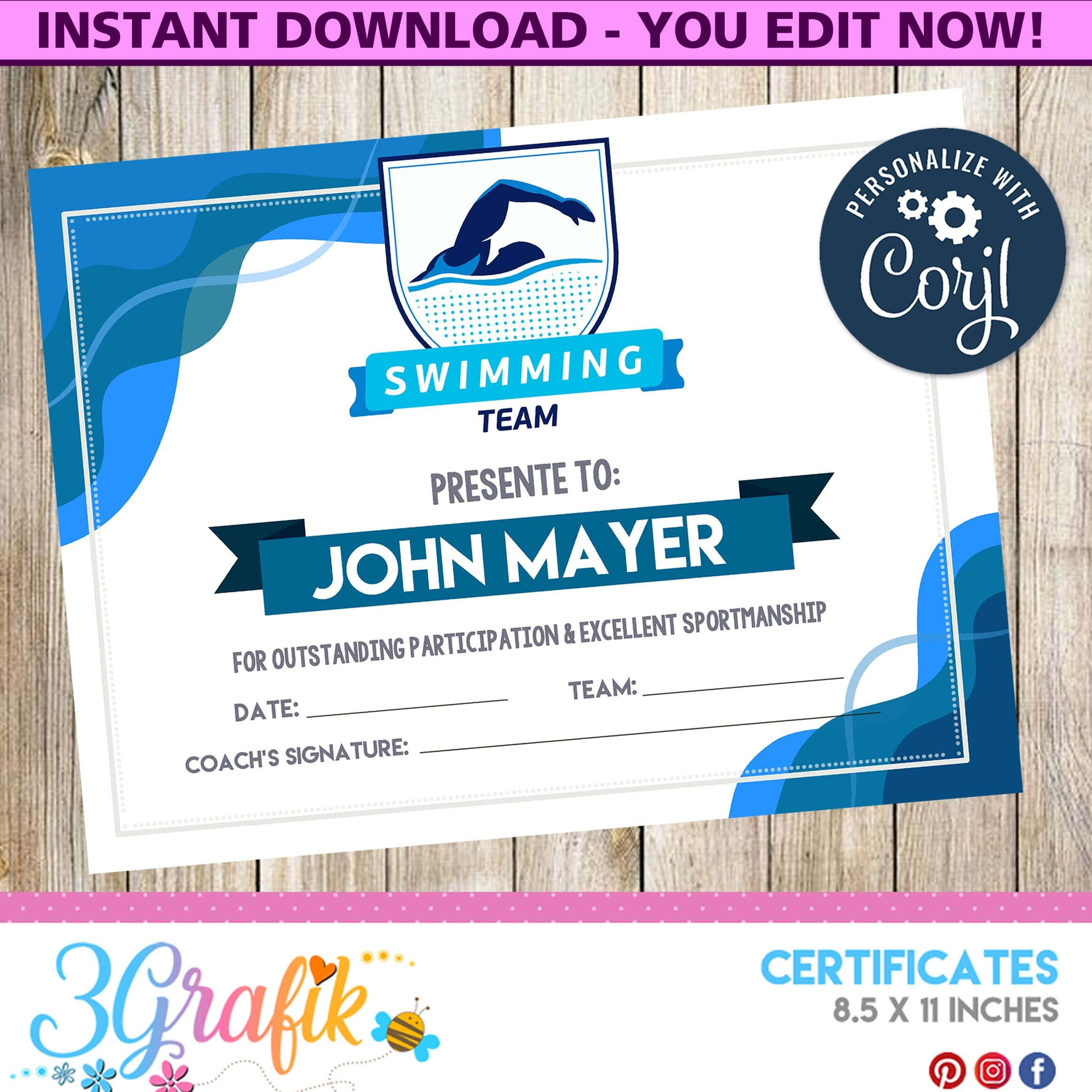 Swimming – Certificate – Printable – 3Grafik | Certificate Regarding Swimming Certificate Templates Free