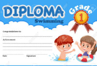 Swimming Diploma Certificate Template Illustration with regard to Free Swimming Certificate Templates