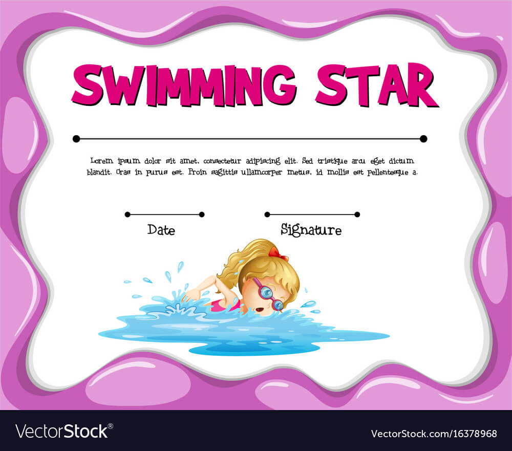 Swimming Star Certificate Template With Girl Intended For Swimming Certificate Templates Free