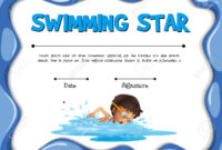 Swimming Star Certification Template With Swimmer Illustration with regard to Swimming Award Certificate Template