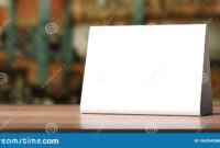 Table Tent, Reserved Card Sign Empty Blank On A Wooden Table intended for Table Reservation Card Template