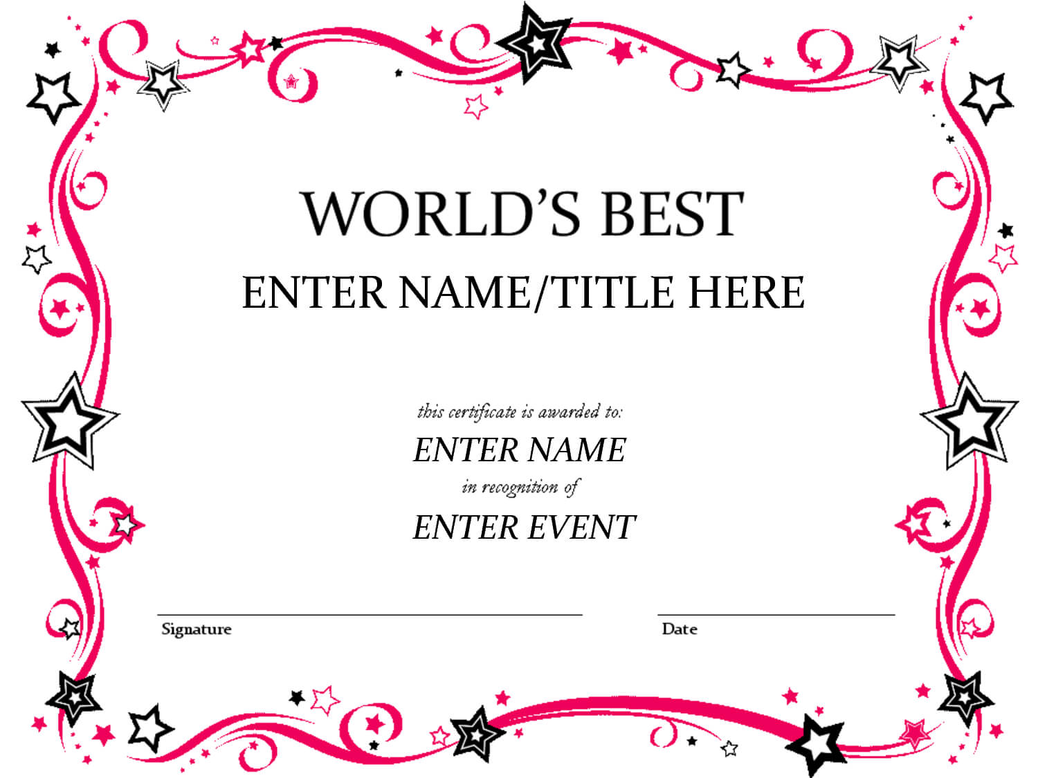 Talent Show Award | Certificate Templates, Award Inside Free Funny Certificate Templates For Word