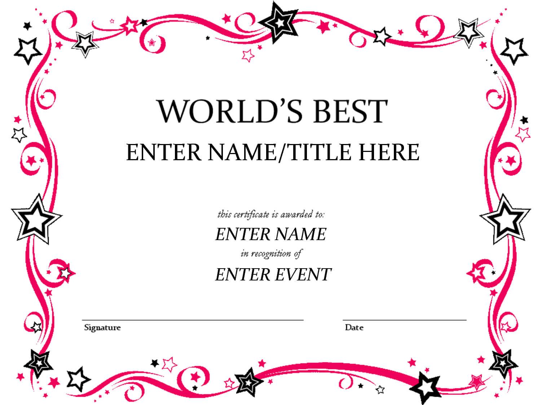 Talent Show Award | Certificate Templates, Award Regarding Free Funny Award Certificate Templates For Word
