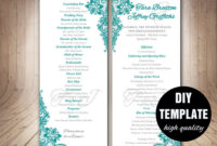 Teal Wedding Program Template – Instant Download Microsoft with Free Printable Wedding Program Templates Word