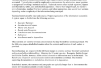 Technical Memo Report pertaining to Template For Technical Report
