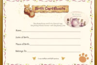 Teddy Bear Birth Certificate | Birth Certificate Template pertaining to Baby Doll Birth Certificate Template