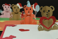 Teddy Bear Pop Up Card: Valentines Day, Birthday, Christmas within Teddy Bear Pop Up Card Template Free