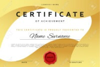 Template Certificate Design In Gold Color. Award Certificate.. for Award Certificate Design Template