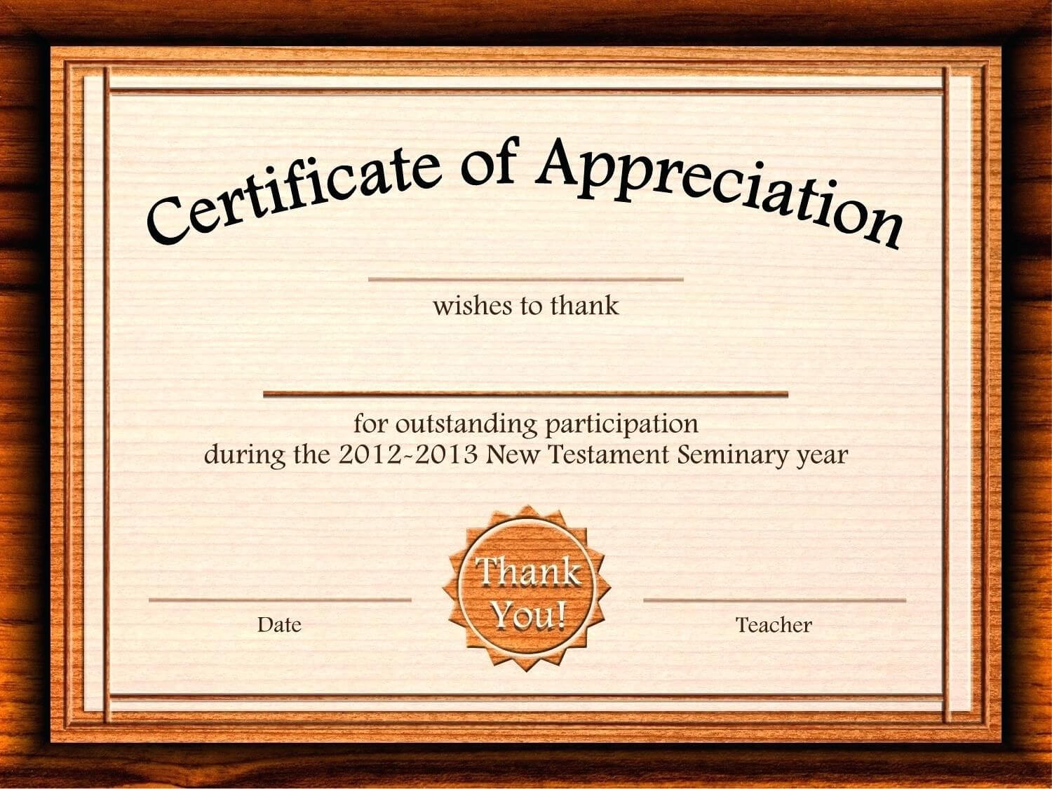 Template: Editable Certificate Of Appreciation Template Free For Certificate Of Appreciation Template Free Printable
