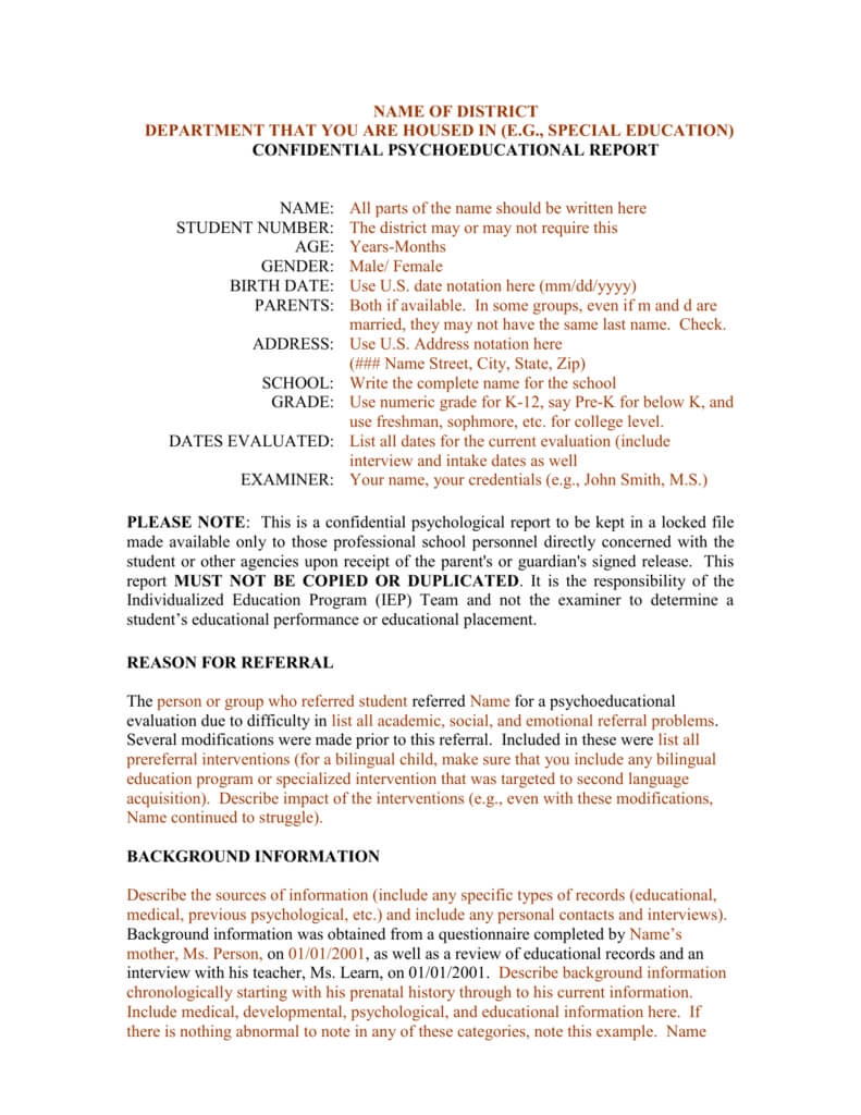 Template For A Bilingual Psychoeducational Report Inside Psychoeducational Report Template
