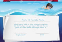 Template Of Certificate For Swimming Award Stock Vector regarding Swimming Award Certificate Template