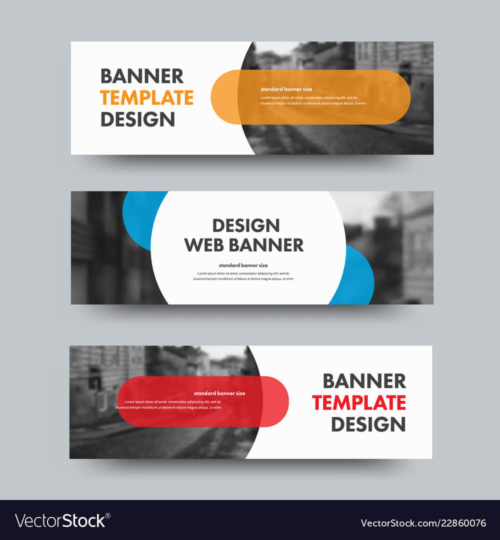 Template Of Horizontal Web Banners With Round And Within Product Banner Template
