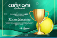 Tennis Certificate Diploma With Golden Cup Vector. Sport regarding Tennis Certificate Template Free